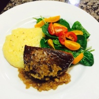 Beef Tenderloin with Creamy Polenta & Fresh Greens