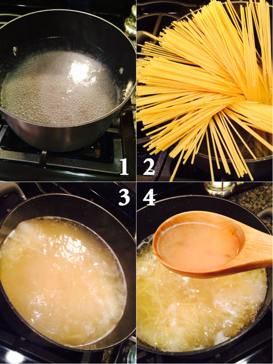 #1: Waiting patiently for water to come to a rollling boil #2: Adding pasta to water #3: Pasta cooking #4: Reserving some pasta water